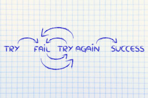 motivational set of steps to success: try, fail, try again, success
